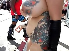 Buxom mature exhibitionist with fondling in public