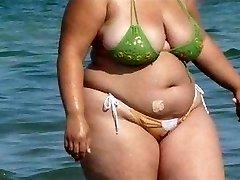 BBW Bikini - Candid caboose - Beach Booty spycam - Spying Butt