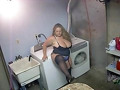 Torrid BBW in High-heeled Shoes and Lingerie Smoking Solo
