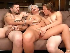 Ash-blonde mom in a threesome.