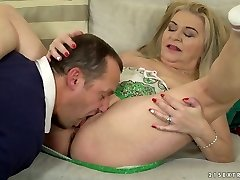 Chunky ash-blonde haired dirty harlot Betsy B is so into working on rock hard penis