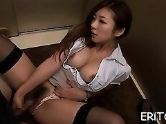 Oriental girl gets her throat filled with a phat manstick
