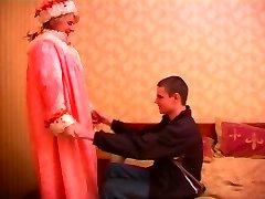 ناضجة سمينة السيدة الروسية في جوارب & شاب