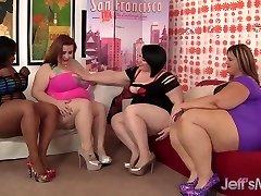 Four plump leabians steaming hot sex
