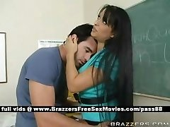 Busty brown-haired teacher at school going through an earthquake