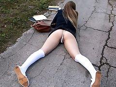 Monster cock in schoolgirl cooter