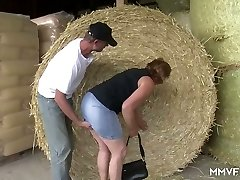 Naughty farmer tempts chubby mature lady in glasses and plows her in shed