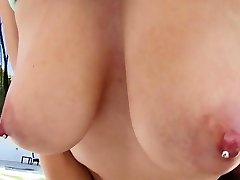 Katrina And Her Pierced Big Milk Cans Gulping Meat