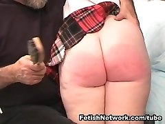 Sweet crimson haired schoolgirl prepared for some whipping