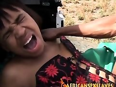Rough outdoor shagging with a nasty African slut and enormous