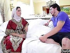 Arab Chick Nadia Ali liking a White Hard-on.
