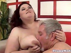 Redhead BBW with good-sized boobs gets boinked