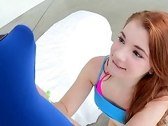 Youthful petite sandy-haired taking a big cock