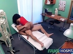 FakeHospital tight ebony pussy gets 2 cum loads from doctors large knob