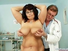Busty mature chick Daniela tits and mature pussy gynecology exam