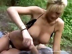 Large melon milf in bikini drains off her boyfriend in the woods