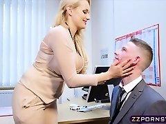 Sexy big-boobed teacher fucked rock hard in her office