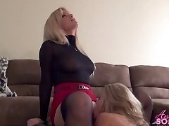 Big-titted blonde boss makes maid eat her pussy