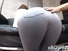 Japan maid with humungous titties gets rod in all her wet fuck-holes