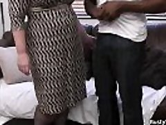 Busty lady manager in fishnets likes black meat