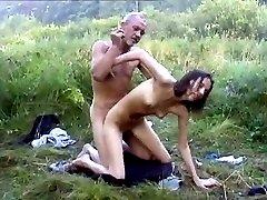 Ugliest oldman fucks Anorexic girl in the woods