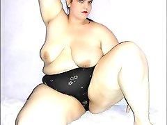 Big booty BBW girl in shiny black panties