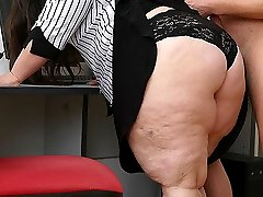 The first customer of the day walks in and the BBW puts the moves on him for sex