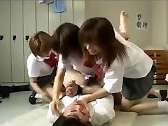 Strapon gangbang by Trio japanese schoolgirls