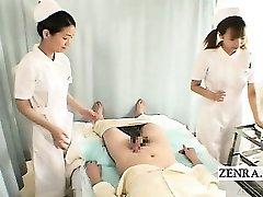 Subtitles CFNM two Chinese nurses handjob with cumshot