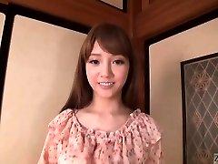 Subtitled Japanese AV starlet Rei Mizuna striptease to nakedness