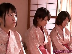 Spanked japanese nubiles queen dude while stroking him off