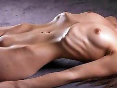 Skinny nymph displays her ribs