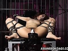Super-sexy dame is tied up and fucked by big machine