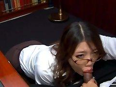 Kinky Asian secretary in glasses Ibuki sucks the manhood of her spoiled boss