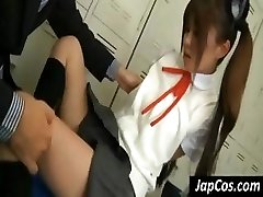 Young Japanese gal gets her arm pits licked and her feet worshiped