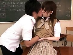Small asian student banged in classroom