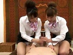 Nasty Japanese chick Hinata Tachibana, Hiyori Wakaba, Eri Ouka in Super-naughty Handjobs, Threesomes JAV movie
