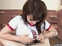 Lovely Japanese teen wanks and bj's her man'_s hard wang