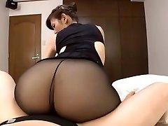 Japanese mature dark-hued tights sex