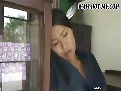Japanese wifey sucks on his cock, gets romped and sucks again