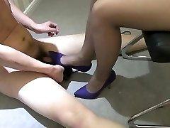 Asian girl high heels stomping