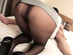 Mai Asahina takes on a humungous dick in her pantyhose riding