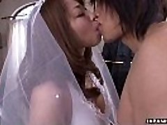 During her wedding she has to gargle on a stiff wiener