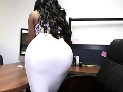 Bubble ass black secretary and white spear