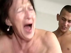 Granny Loves Young Stud's Balls and Rump