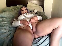 BBW Milky Bodysuit Tease and Cum