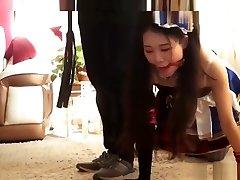 obedient ballgagged chinese crawls