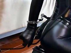 Bondage leather Submissive damsel
