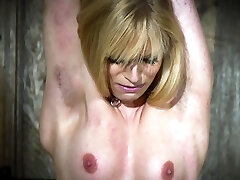 Hot blonde in subjugation gets tortured and loves it