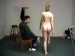 Humiliating naked exercises for teacher smacking shame